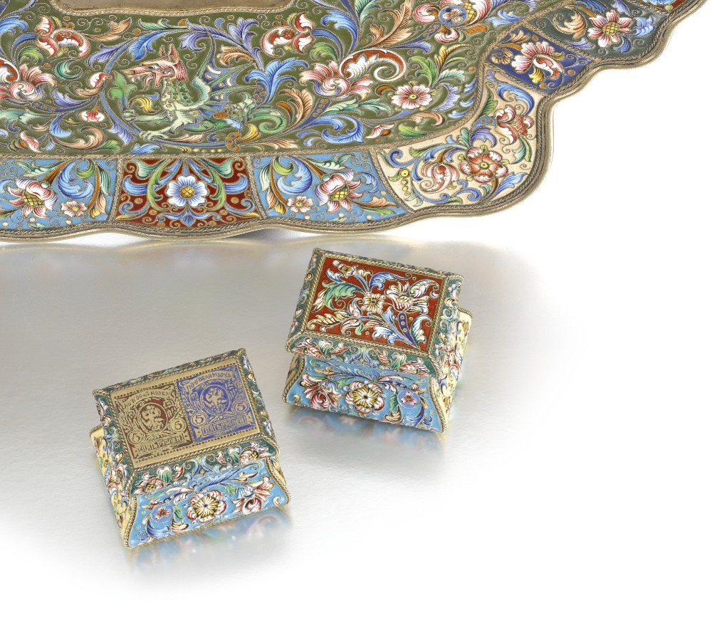Lot 624 - TWO RUSSIAN SILVER-GILT AND CLOISONNE ENAMEL STAMP BOXES AND A DESK TRAY, FEODOR RUCKERT, MOSCOW,