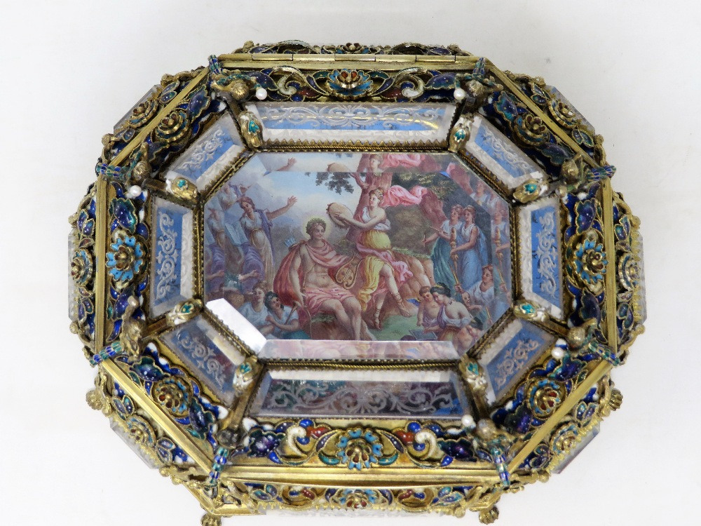 Lot 630 - AN AUSTRO-HUNGARIAN ENAMELLED SILVER-GILT AND ROCK CRYSTAL CASKET, MAKER'S MARK TB, VIENNA, LATE