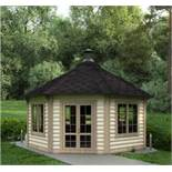 + VAT Brand New 16.5m sq 8 Corner Spruce Pavilion - Grill With Cooking platforms and table around