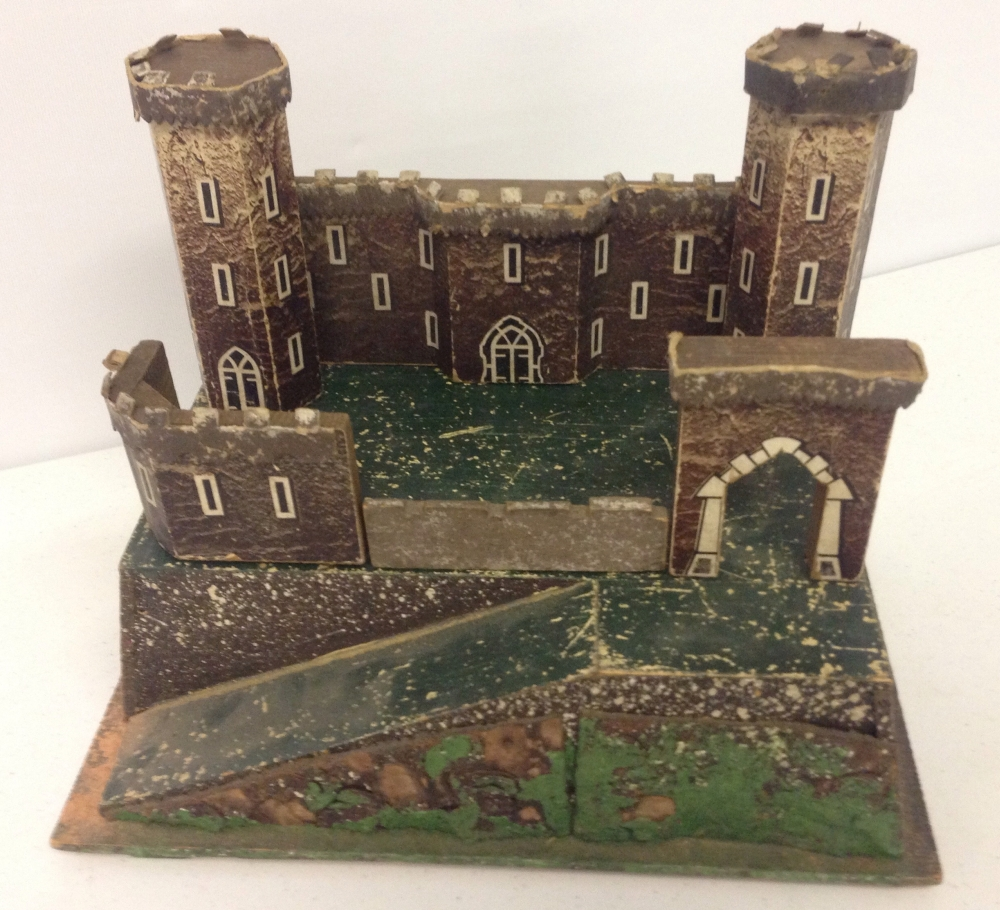 A vintage small wooden toy soldier fort castle for Old wooden forts