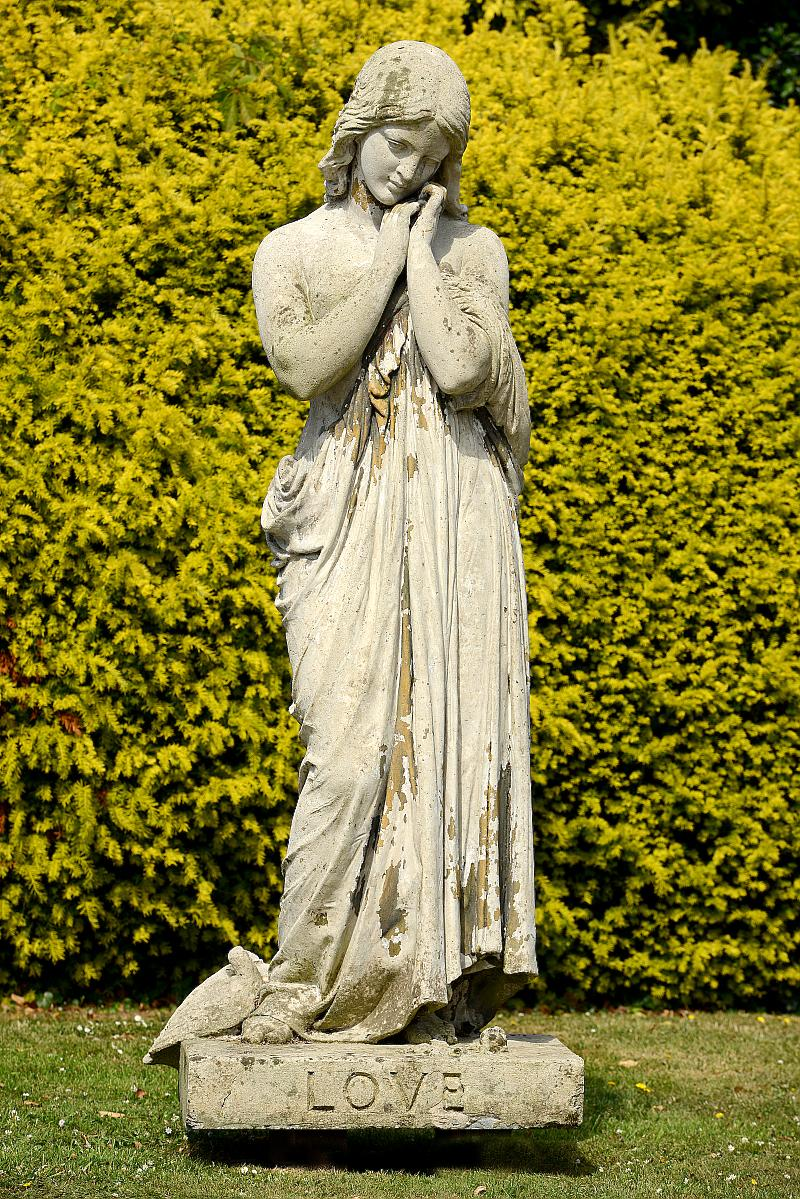 Garden Statue: After Raffaele Monti Ft, 1851: A monumental composition stone figure of a girl