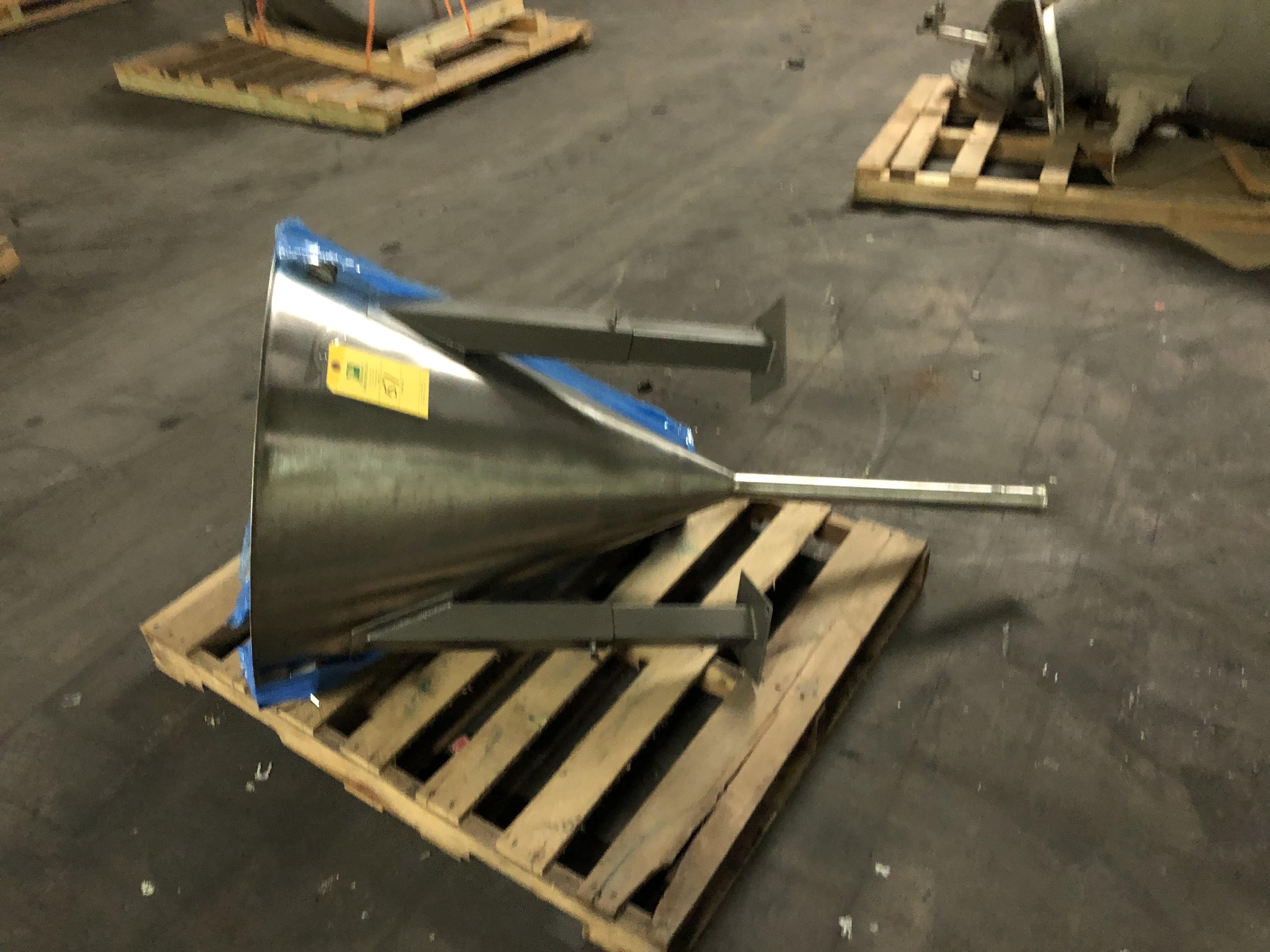 "Stainless Steel Hopper, 30"" Diameter at Top x 36"" Top - Bottom"