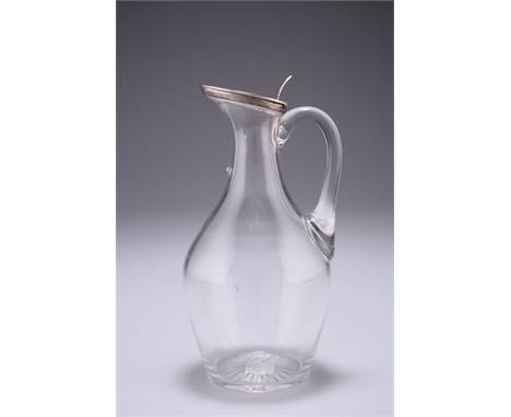 A VICTORIAN SILVER MOUNTED WHISKY NOGGIN, by John Grinsell & Sons, Birmingham 1889, with loop handle, the hinged silver l