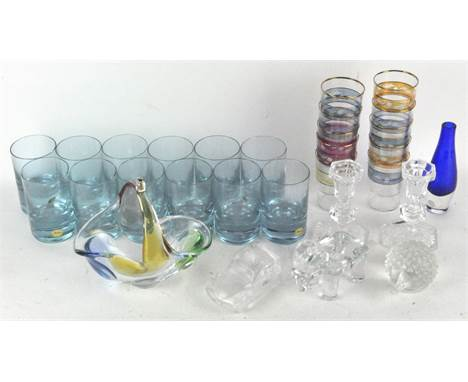 A collection of 'Moser' Czech drinking glasses and other glassware