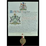 Lot 320 - Grant of Arms, an original illuminated grant of arms on vellum to 'Colonel His Highness Farzand-i-