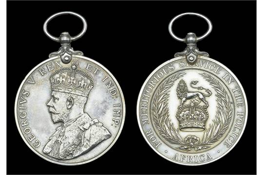 African Police Medal for Meritorious Service, G V R , 1st issue