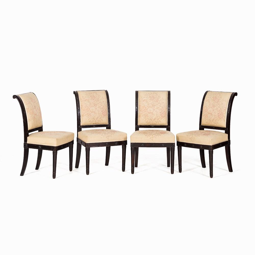 Four consulat salon chairs mahogany paris c 1800 for Solid salon