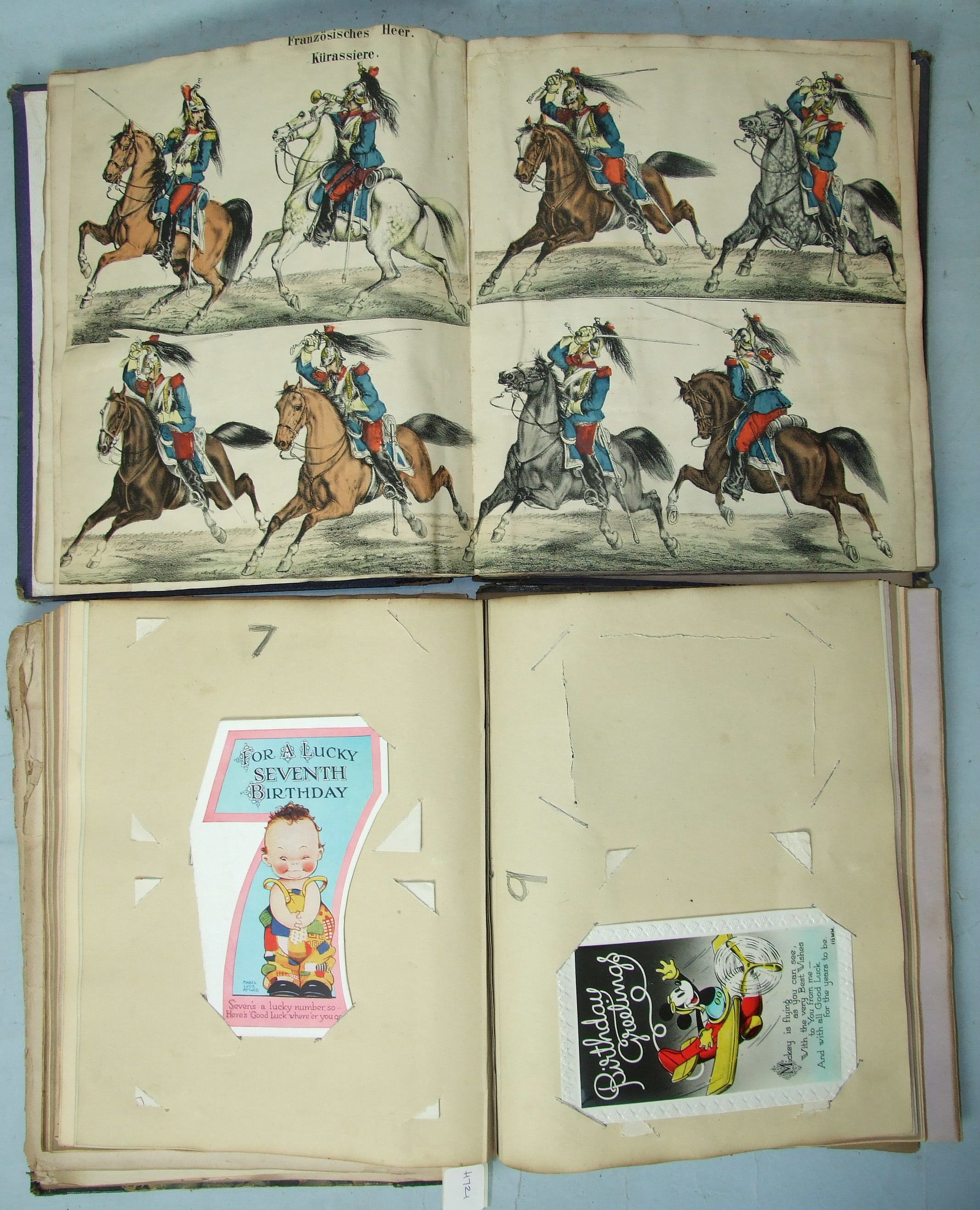 Lot 251 - Two Victorian scrap albums containing hand coloured lithographs of European artillery and cavalry,