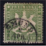 Germany 1859-62 6k green perf 13 1/ SG 41 fine used Cat £150 +