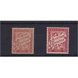 France 1893 - 41 Postage Dues 30 Cents Carmine (D302) u/m mint and 30 Cents Vermillion (D303) m/