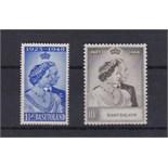 Basutoland-1948, Royal Silver Wedding Set(SG36/37) e/n/mint Cat£50.00