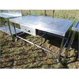 Large mobile preparation table with drawer under, 1680mm wide, 1010mm deep and 840mm high