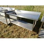Stainless steel large single bowl sink unit with tap set, draining board and shelf under, 1500mm