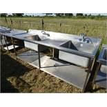 Large double bowl with deep bowl sink unit and tap sets and shelf under, 2440mm wide, 720mm deep and
