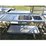 Stainless steel single bowl sink unit with single hand wash bowl and tap set with draining board and