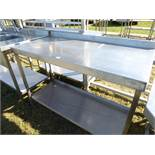 Stainless steel praparation table with a shelf under, 1250mm wide, 600mm deep and 950mm high
