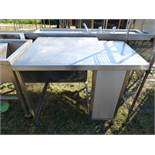 Stainless steel preparation table with a rear corner cut out, 1100mm wide, 800mm deep and 910mm high