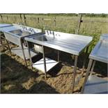 Stainless steel single sink with tap set, draining board, void for dishwasher under and shelf under,