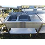 Stainless steel double bowl sink unit with taps, draining board and shelf under, 1200mm wide,