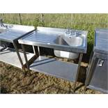 Stainless steel single bowl sink with tap set, draining board and shelf under, 1000mm wide, 650mm