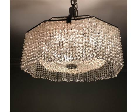 An Art Deco Baccarat style crystal ceiling chandelier with eight lights. Wedding cake design. H.50 D.60