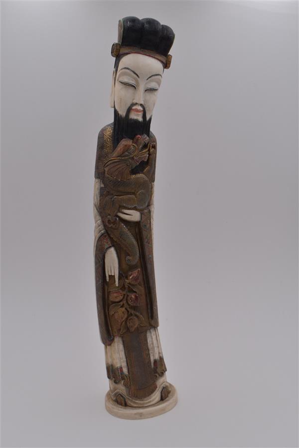 Lot 157 - Chine, Sage au dragon en ivoire polychrome, H.61,5 cm -
