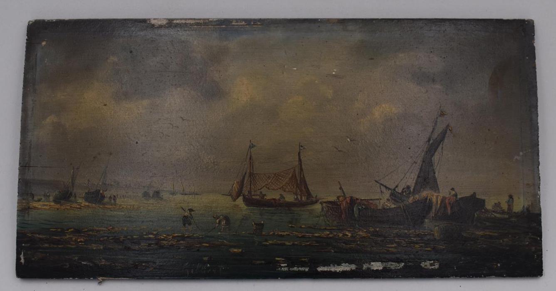 """Lot 182 - Pierre-Julien GILBERT """"Pêcheurs sur la côte"""" Peinture sur panneau, signé en bas à [...]"""