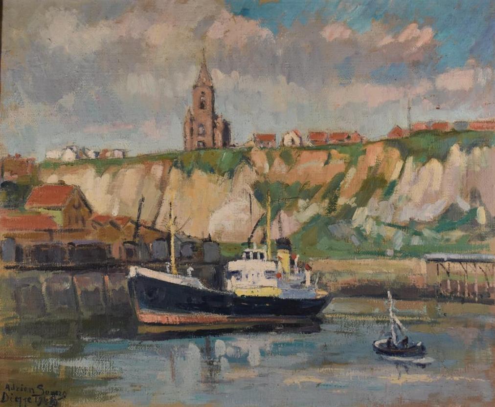 Lot 110 - Adrien SEGHERS (1876-1950), Port de Dieppe, huile sur toile, signé situé et daté [...]