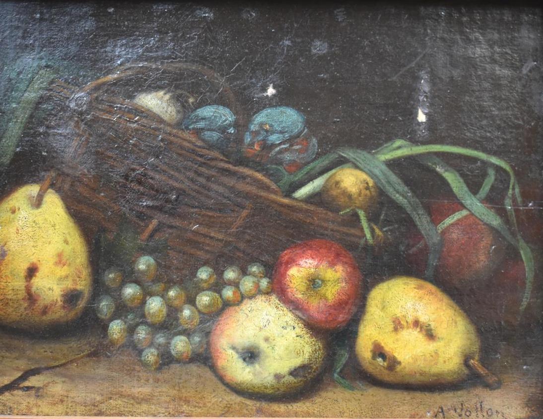 Lot 219 - Ecole Française du XIXe siècle, Nature morte au panier et aux poires, huile sur [...]