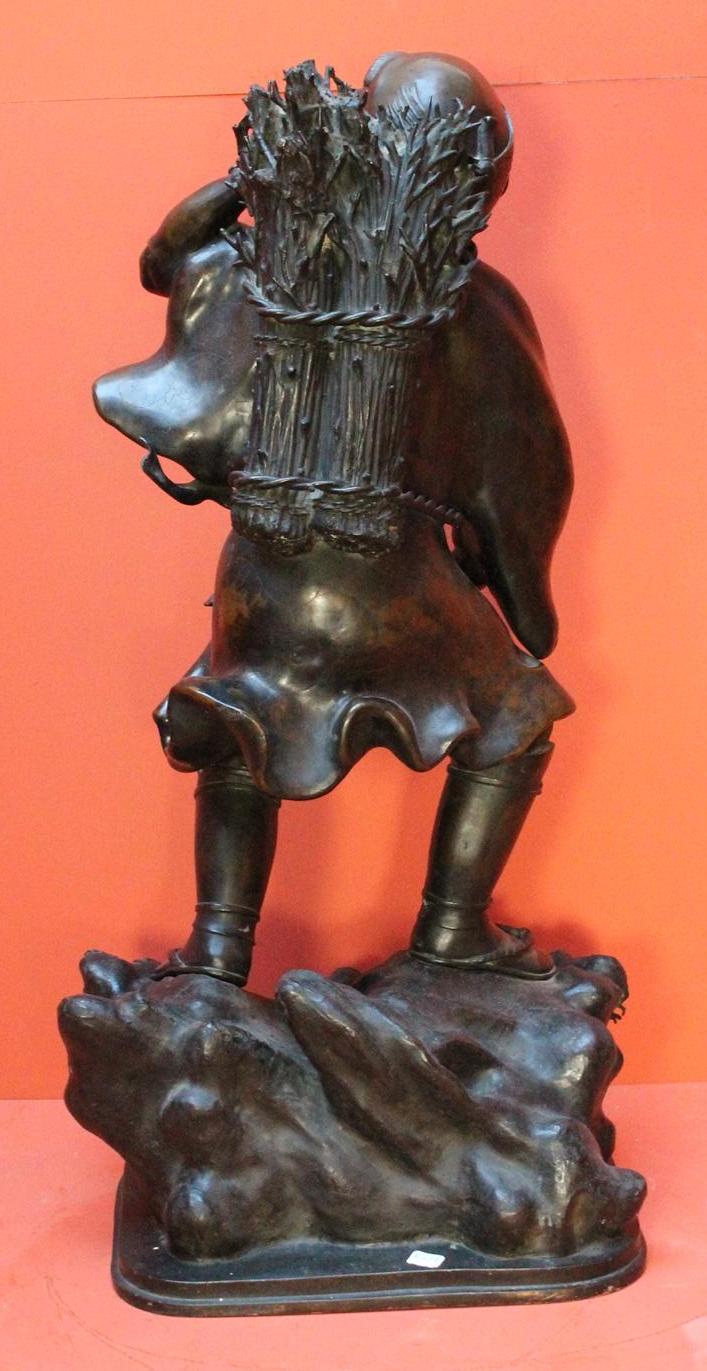 """Lot 147 - Minjun YUE (1962) """"Paysan au rictus hilarant"""" Sculpture en Bronze à patine brune, [...]"""