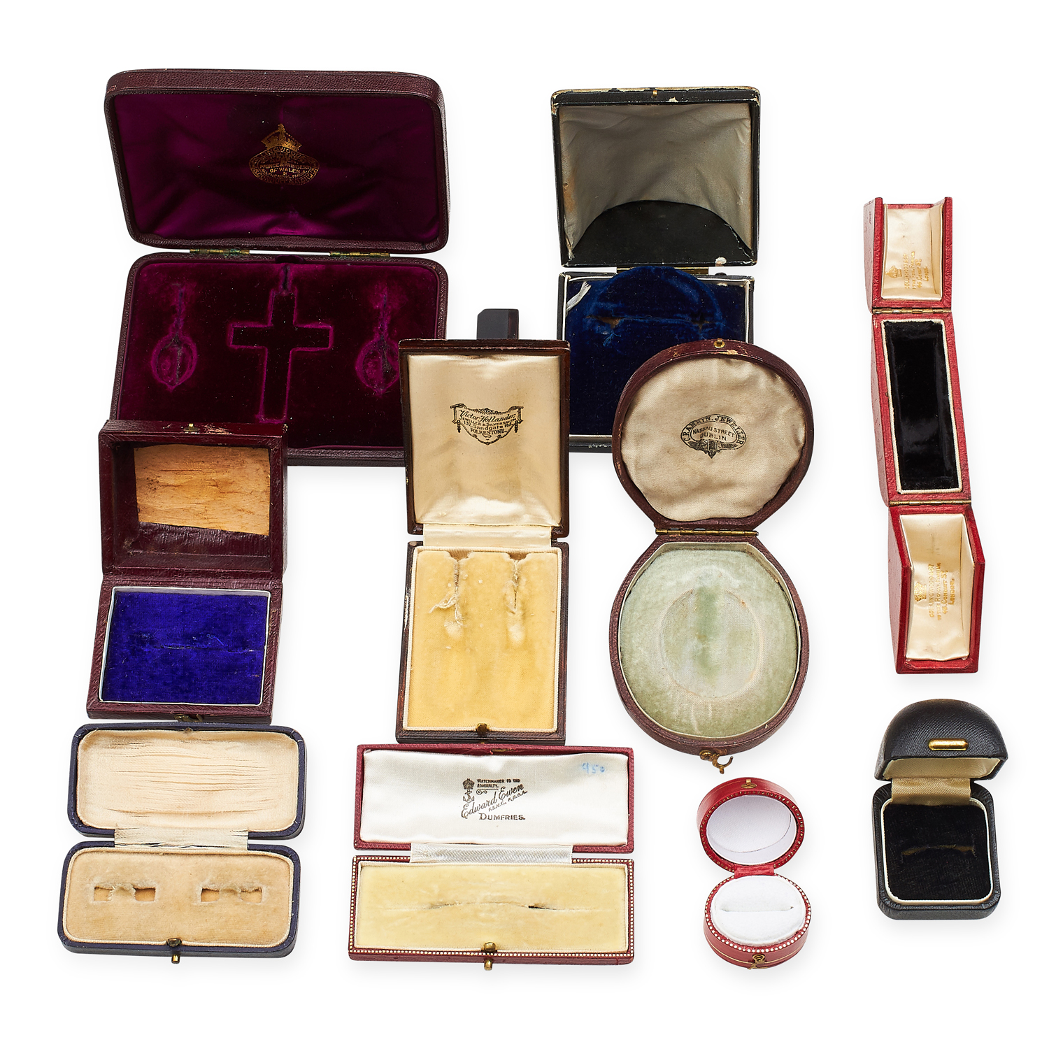 A SELECTION OF TEN VARIOUS ANTIQUE JEWELLERY BOXES including some ring, earrings, brooch, pendant - Image 2 of 2