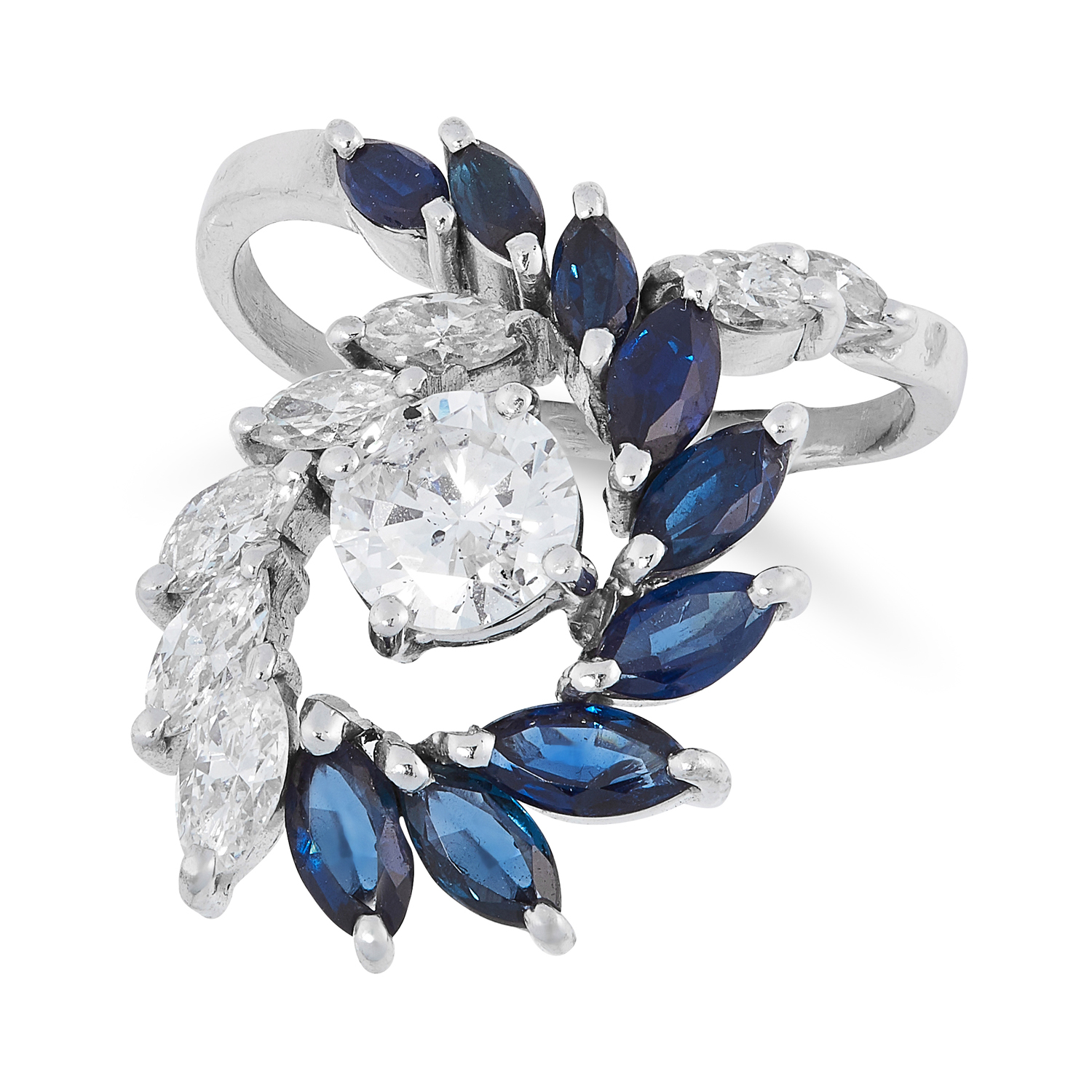 A DIAMOND AND SAPPHIRE DRESS RING set with a central round cut diamond of 1.0 carats, accented by