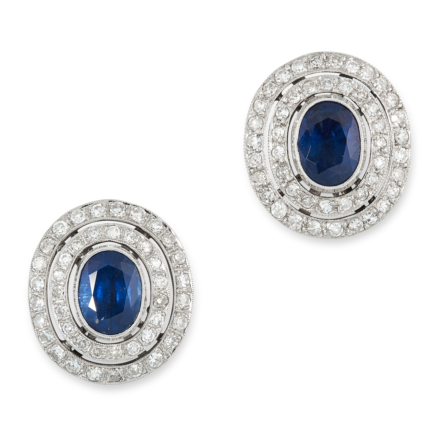 A PAIR OF SAPPHIRE AND DIAMOND CLUSTER EARRINGS in 18ct gold, comprising of an oval cut sapphire