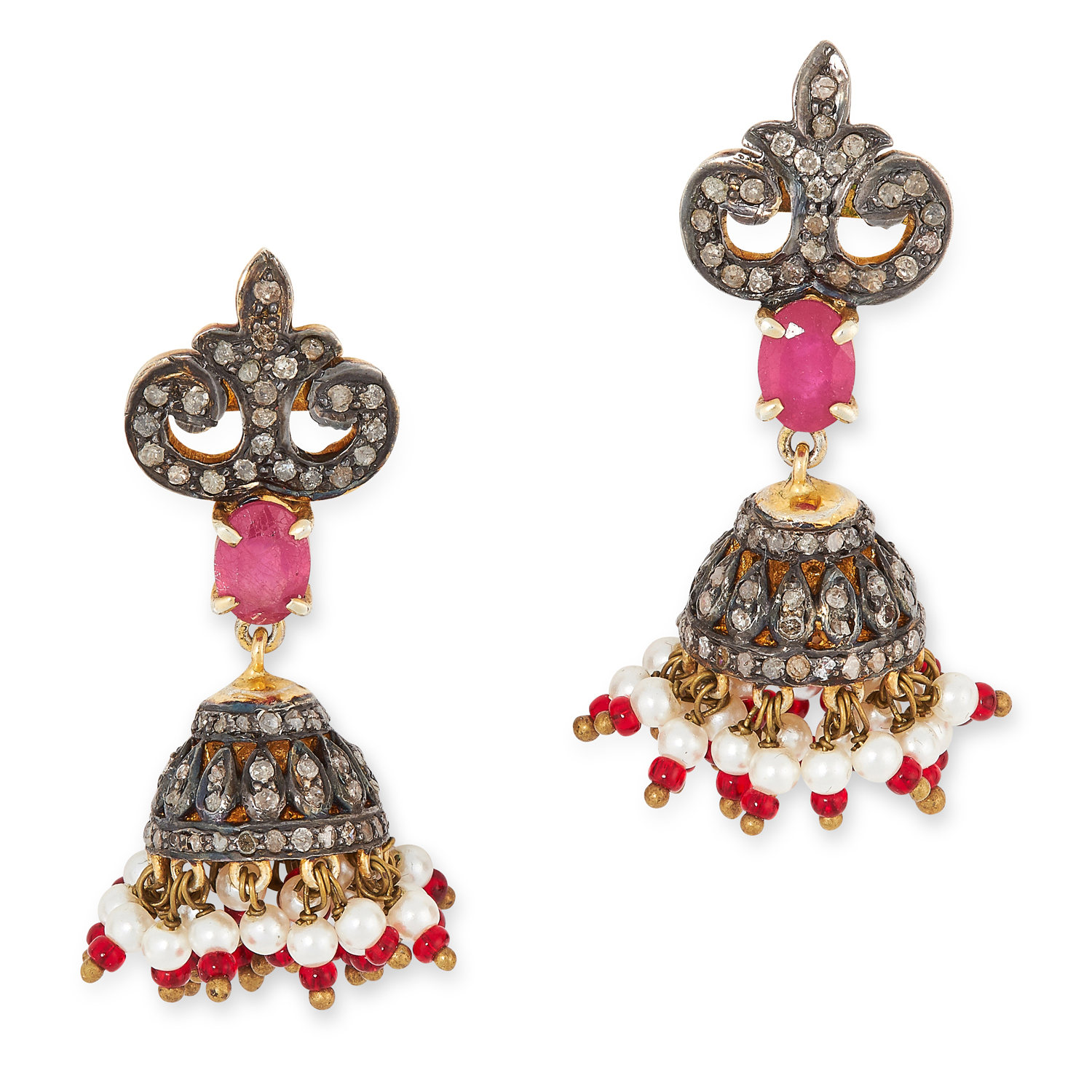 A PAIR OF INDIAN DIAMOND, PEARL AND RUBY EARRINGS set with oval brilliant cut rubies, round cut