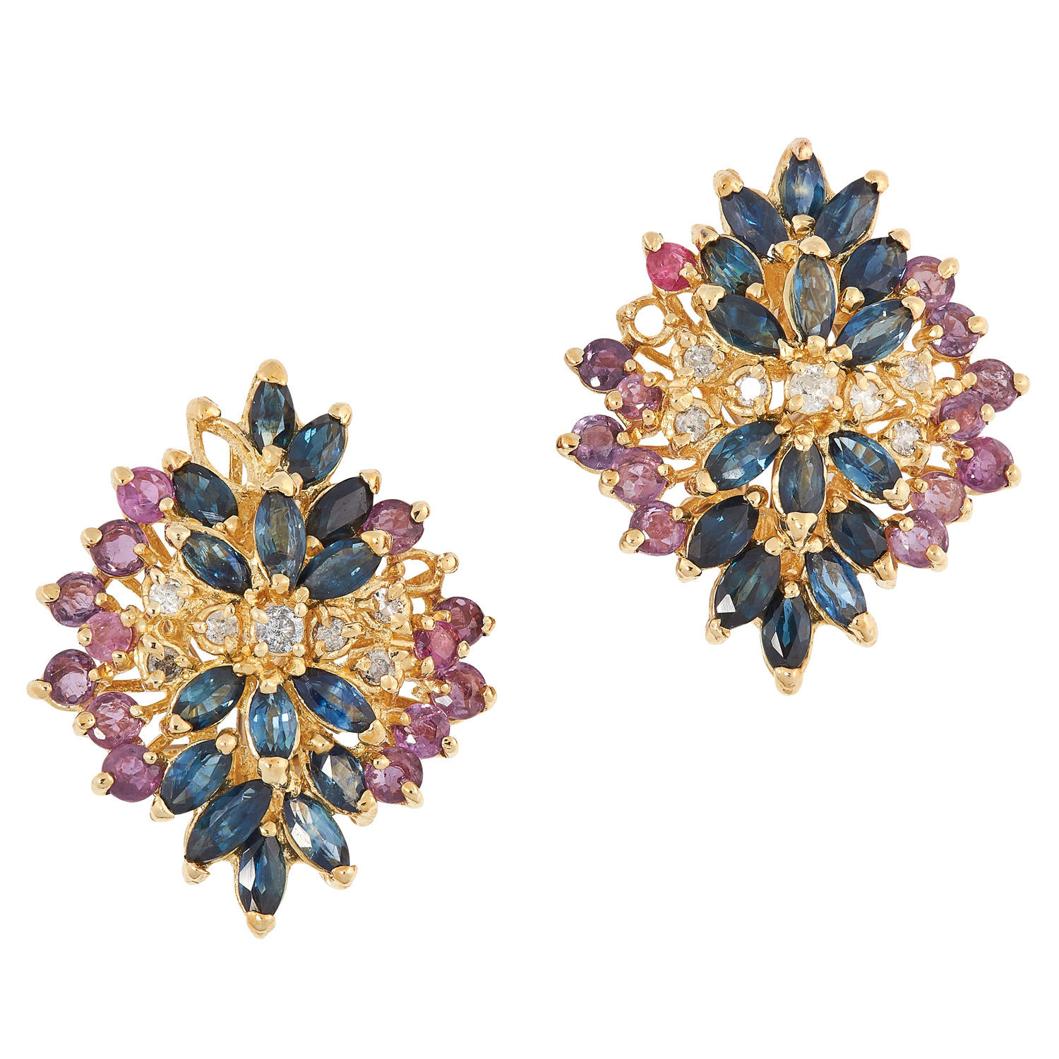 A PAIR OF RUBY, DIAMOND AND SAPPHIRE CLUSTER EARRINGS set with round cut rubies, marquise cut