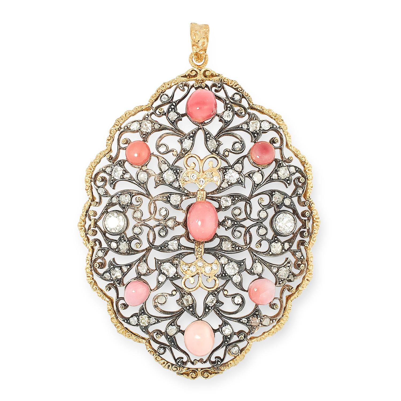 A CONCH PEARL AND DIAMOND PENDANT, BUCCELLATI comprising of open lattice work foliate design, set