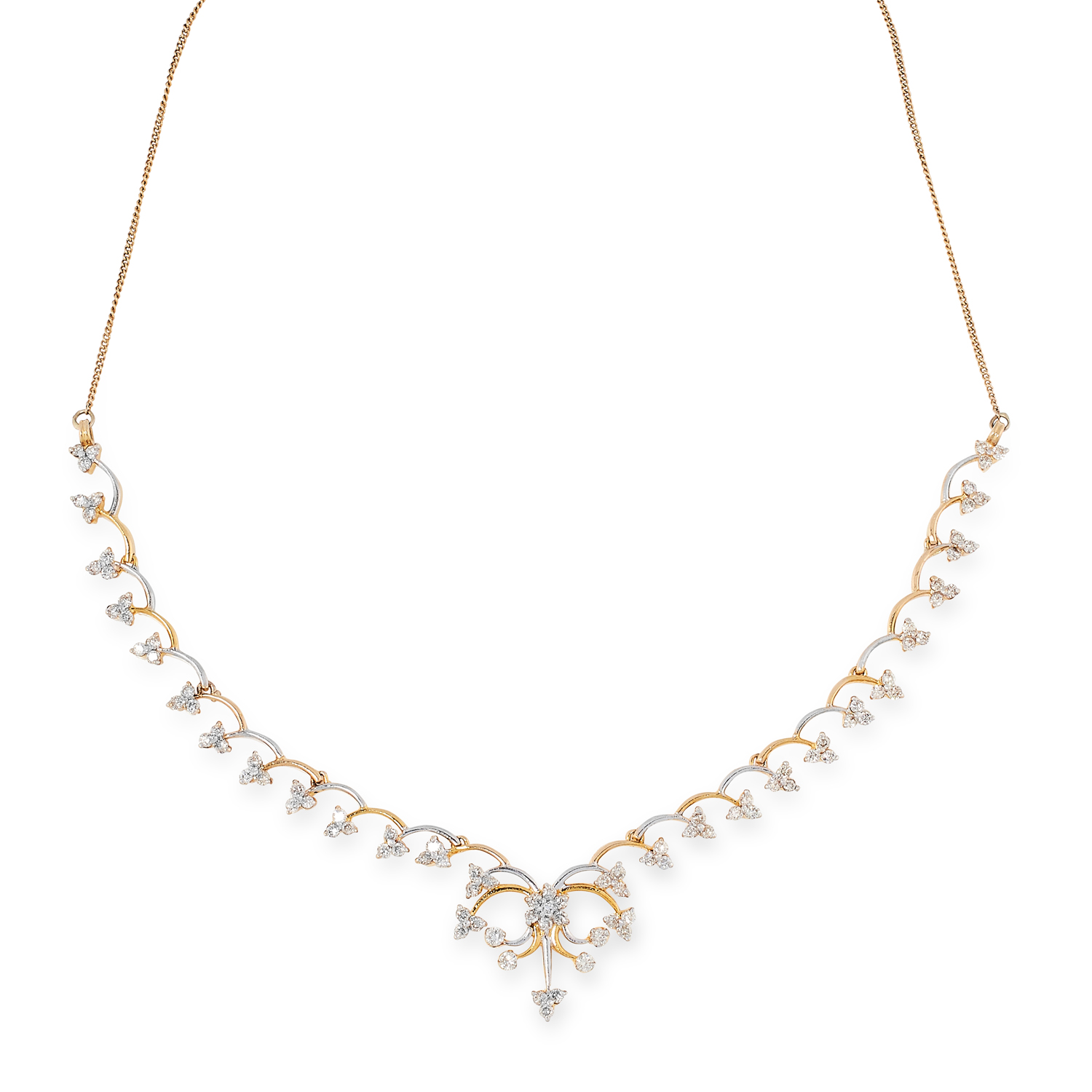 A DIAMOND NECKLACE in yellow and white gold, comprising of a half row of scroll links suspending