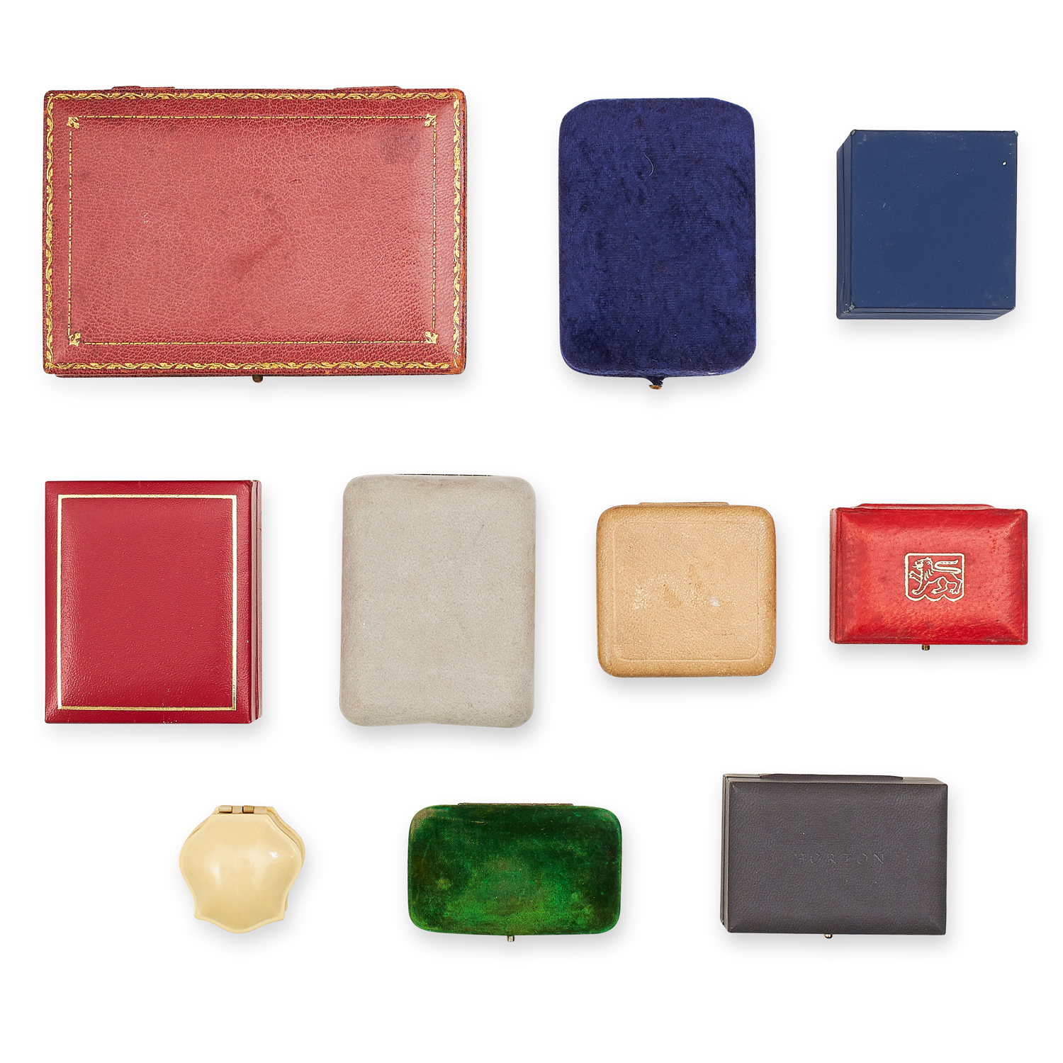 A SELECTION OF TEN VARIOUS ANTIQUE AND LATER JEWELLERY BOXES including some ring, earrings, brooch