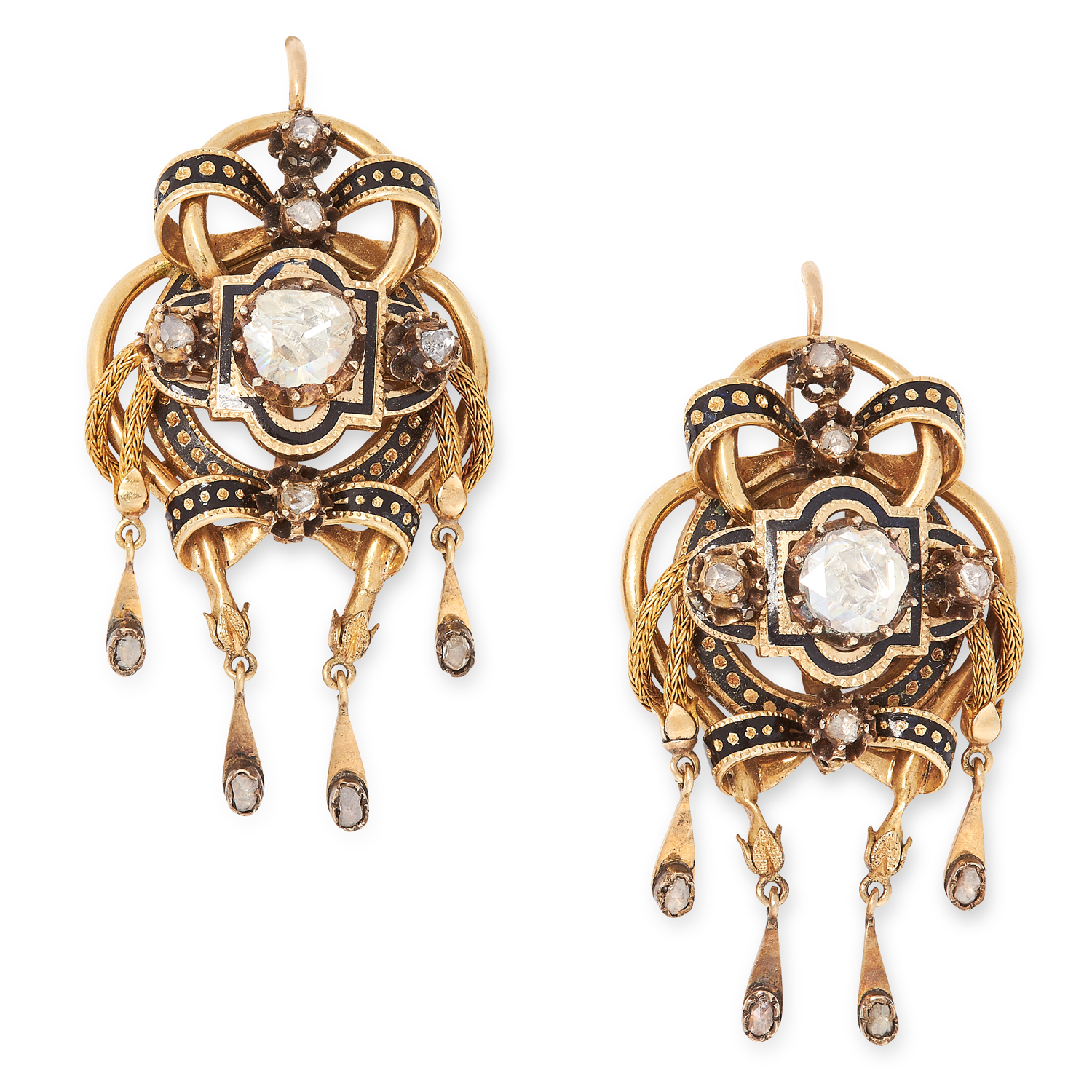 A PAIR OF ANTIQUE ENAMEL AND DIAMOND EARRINGS, SPANISH 19TH CENTURY in yellow gold, set with central