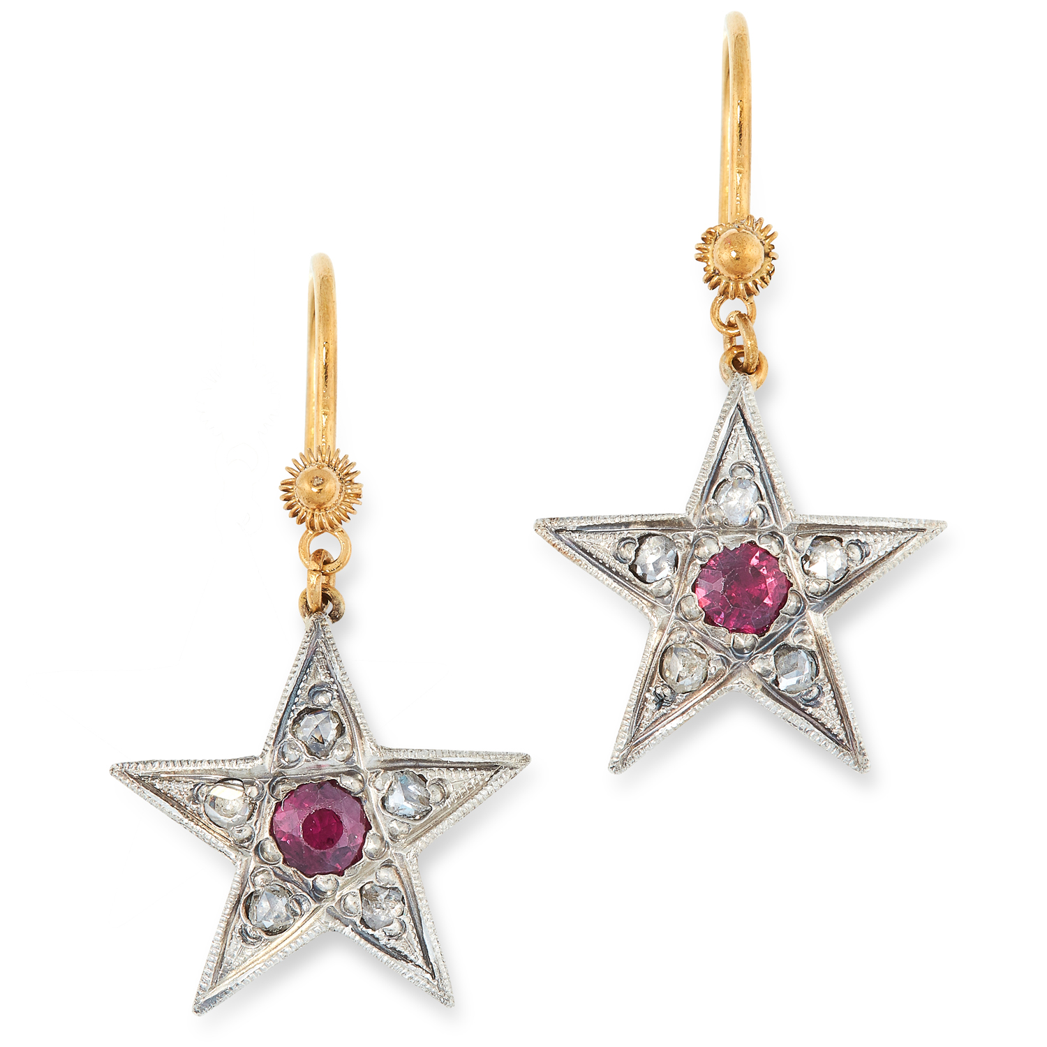A PAIR OF RUBY AND DIAMOND STAR EARRINGS comprising of a french wire suspending a star set with a
