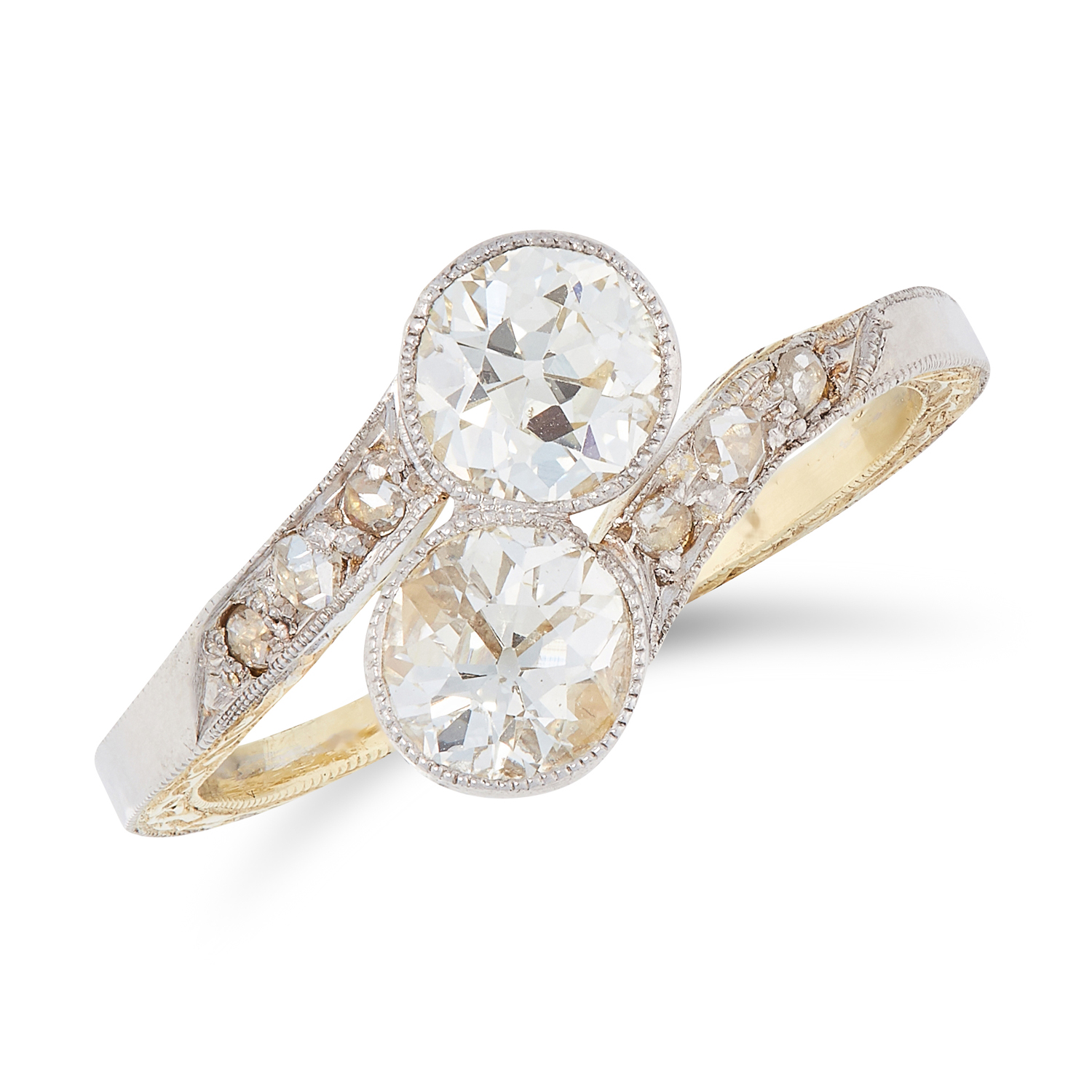 A DIAMOND CROSSOVER RING in yellow gold, set with two old round cut diamonds within a twisted