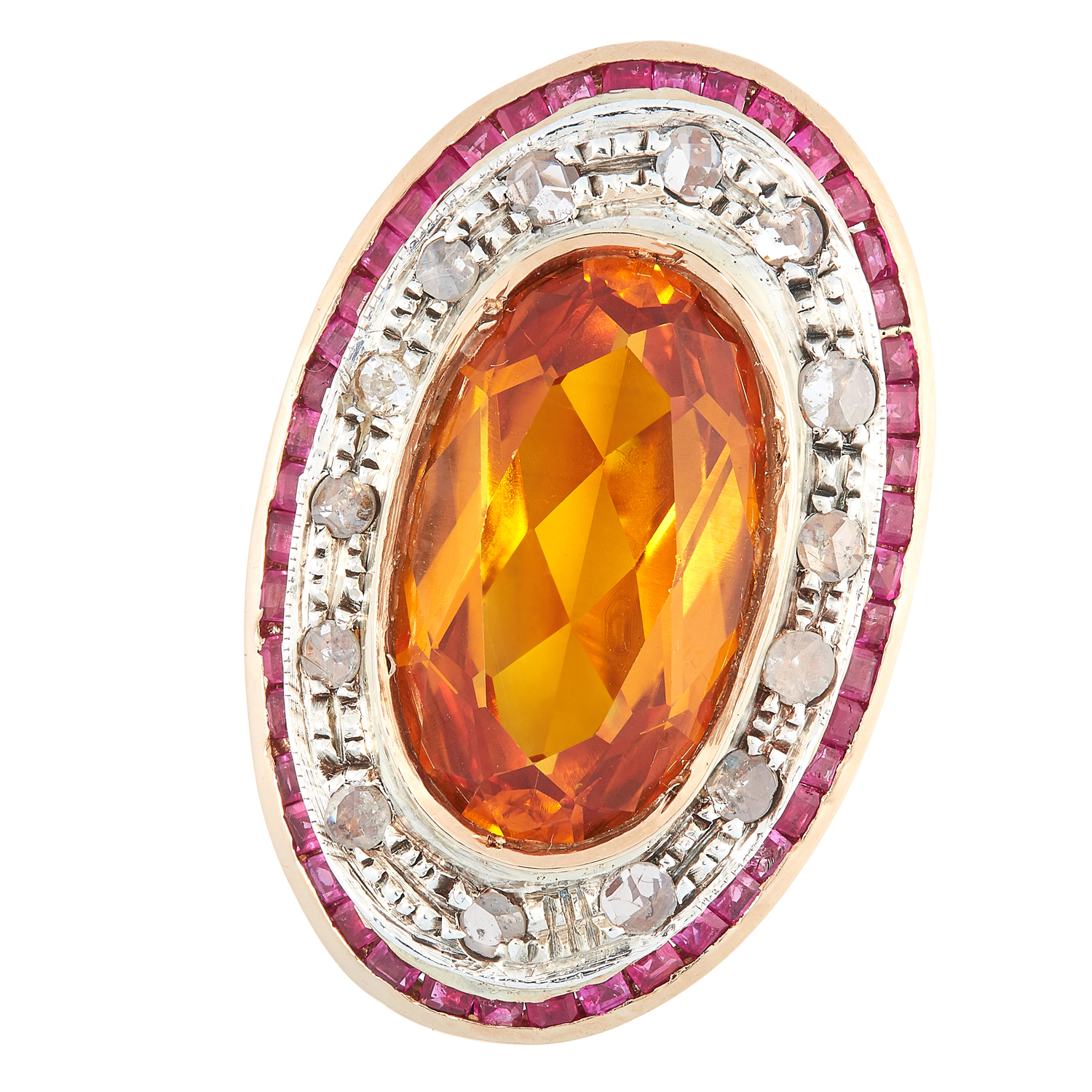 A CITRINE, DIAMOND AND RUBY DRESS RING set with a central oval mixed cut citrine in a halo of rose