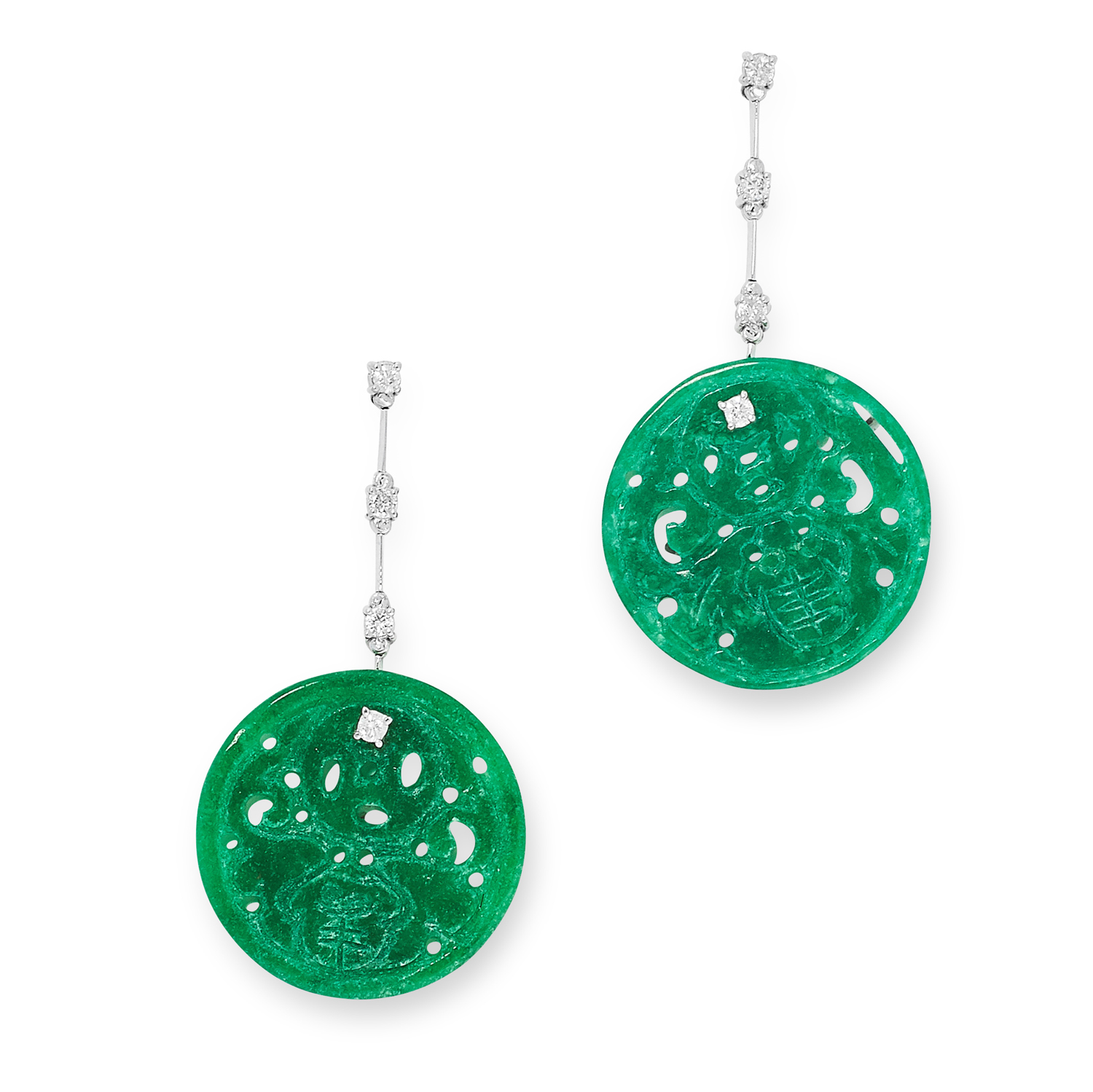 A PAIR OF CARVED JADEITE JADE AND DIAMOND EARRINGS set with round carved jadeite jade discs and