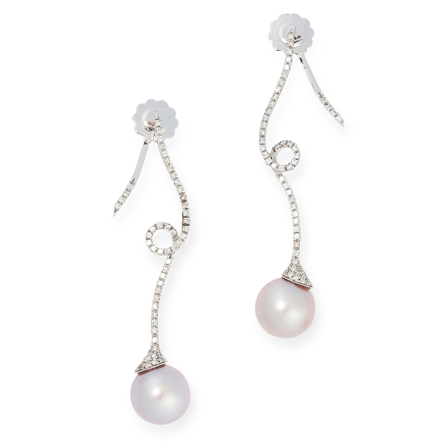 A PAIR OF DIAMOND AND PEARL EARRINGS each designed as a coiled diamond set motif, with a pink