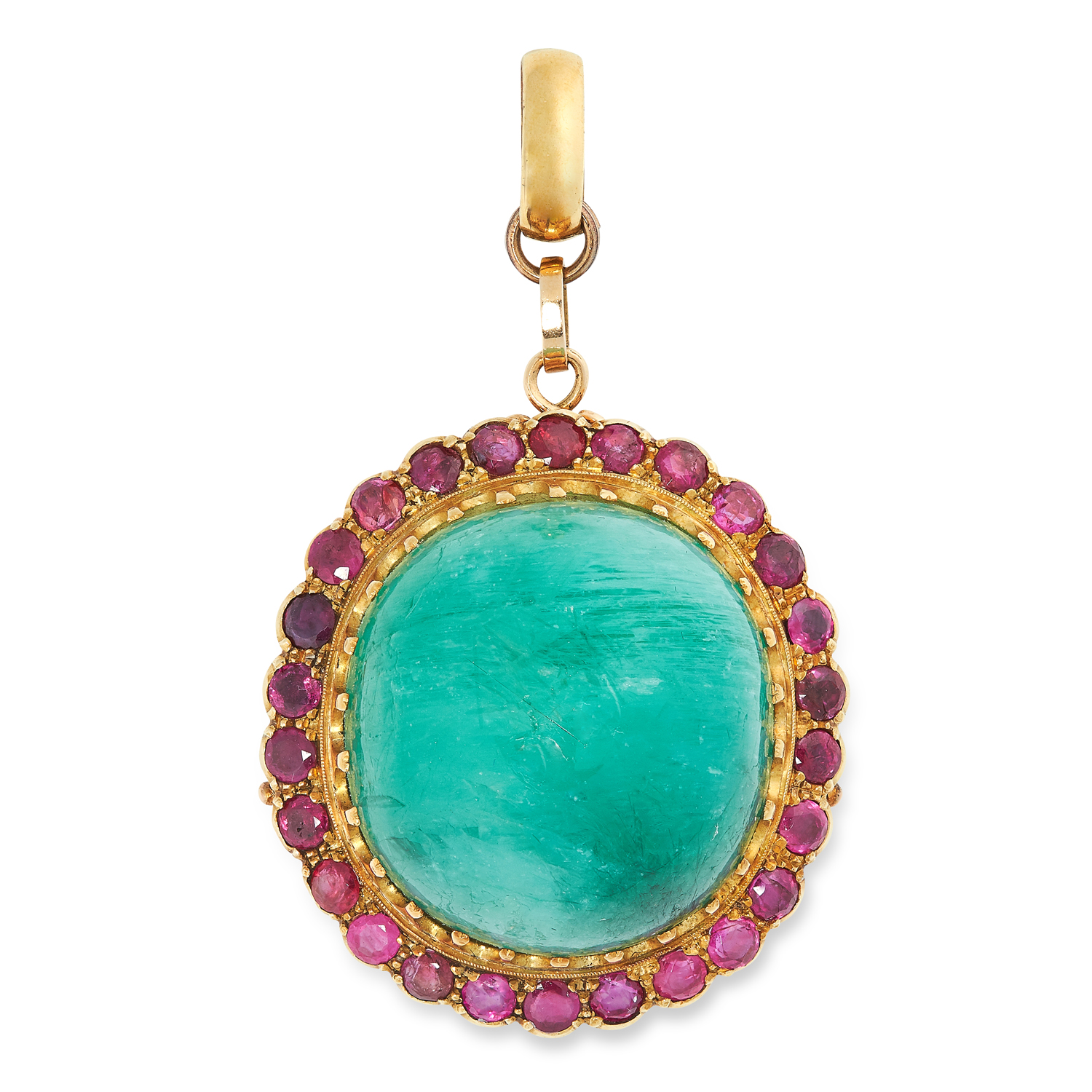 AN ANTIQUE EMERALD AND RUBY PENDANT in yellow gold, comprising of a cabochon cut emerald of 78.10
