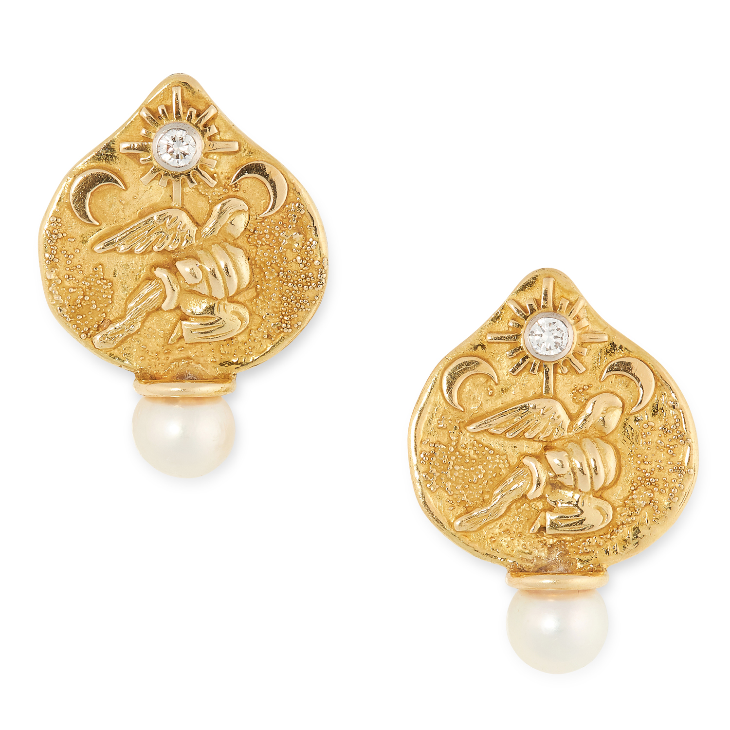 A PAIR OF PEARL AND DIAMOND EARRINGS, ELIZABETH GAGE depicting the Aquarius zodiac sign, each set