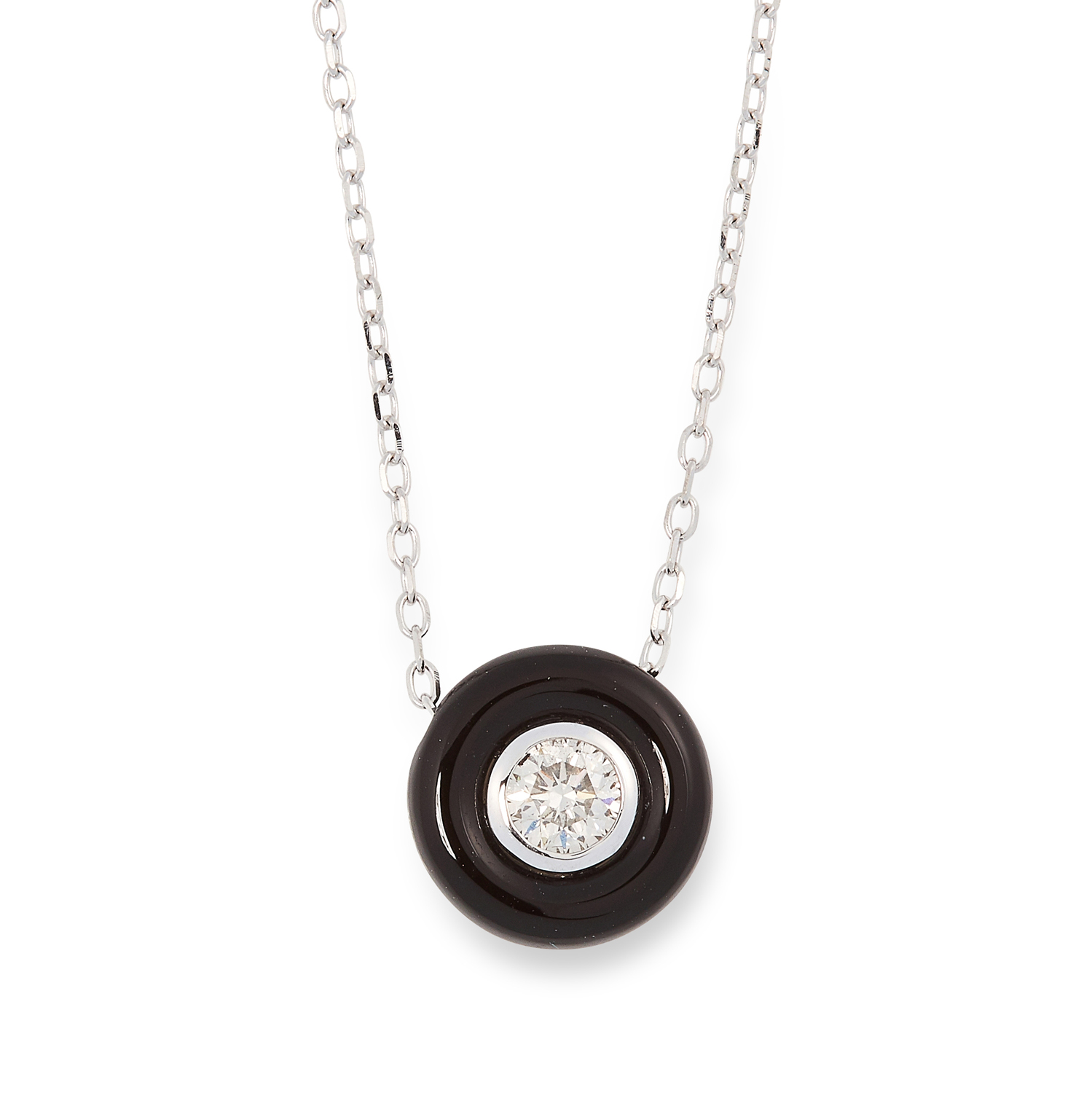 AN ONYX AND DIAMOND PENDANT AND CHAIN comprising of a round polished onyx set with a central round