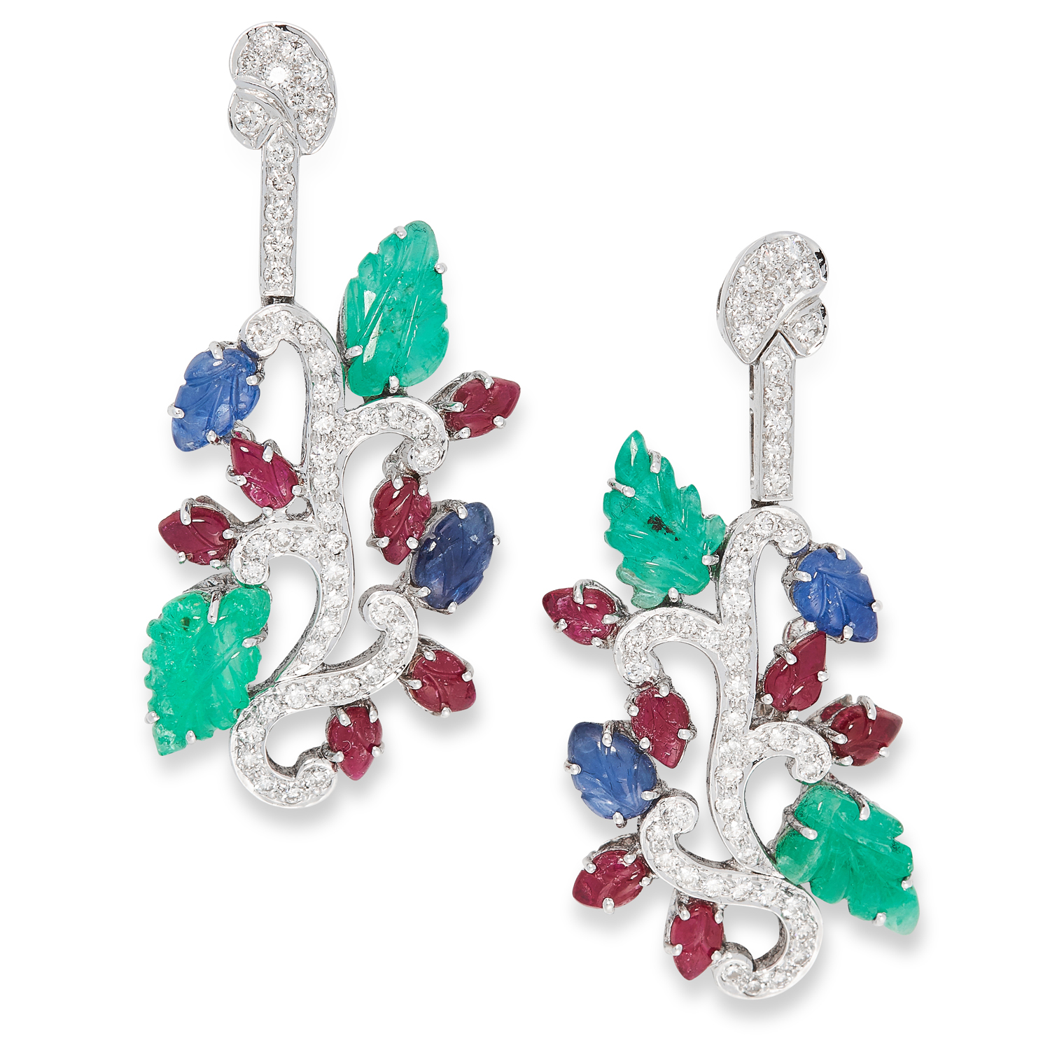 A PAIR OF EMERALD, SAPPHIRE, RUBY AND DIAMOND TUTTI FRUTTI EARRINGS in 18ct white gold, set with
