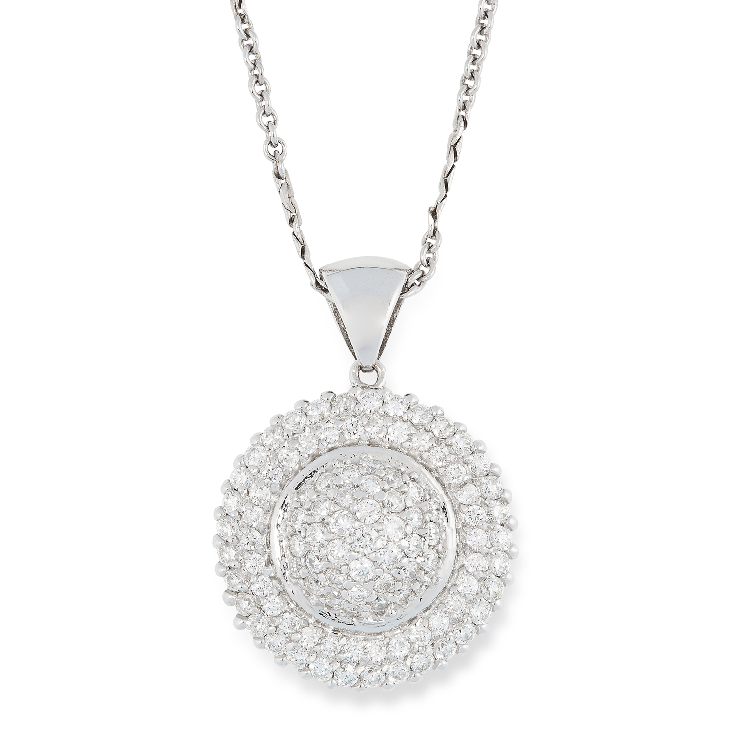 A DIAMOND PENDANT in circular design, pave set with round brilliant cut diamonds, 3cm, 10.73g.