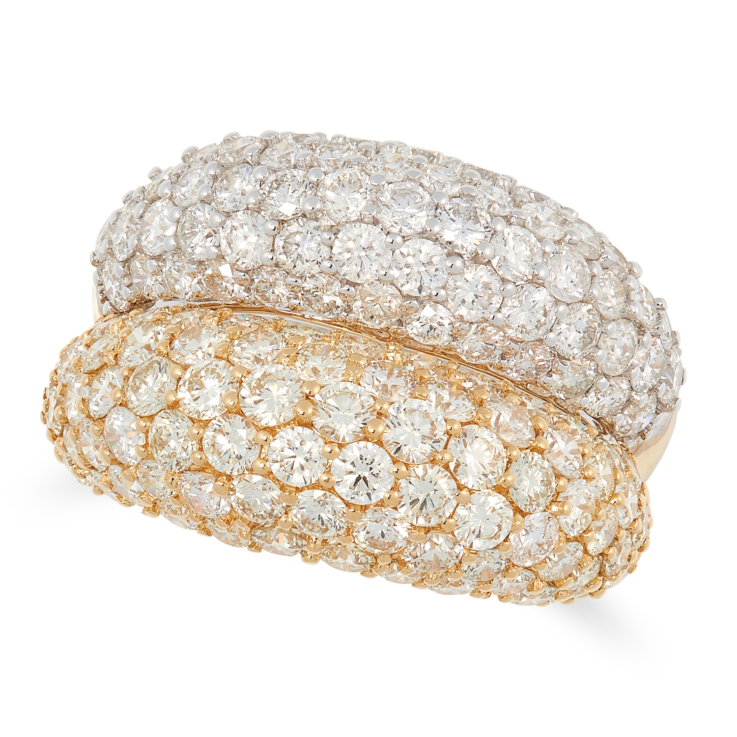 A DIAMOND TWO TONE BOMBE RING in 18ct gold, designed as a double bombe band, set with round cut